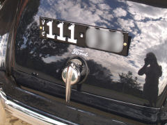 Six digit Heritage number plate mounted to the original 1939 Ford bracket using a LAKIN Custom Plate Bracket.